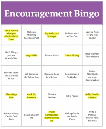 Blog Pic - Encouragement Bingo