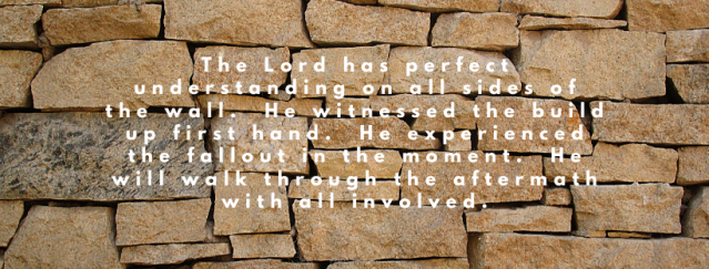 The Lord, has perfect understanding on all sides of the wall. The Lord knows all about the situation. He witnessed the build up first hand. He experienced the fallout in the moment. He will walk through the aftermath